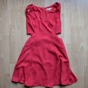 Guess Red Fit and Flare Cut Out Dress